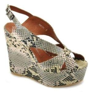 Jeffrey Campbell Mariel Snake Wedge Sandals Cream